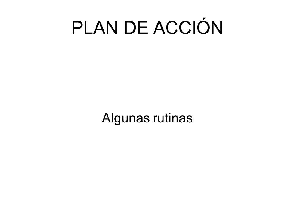 PLAN DE ACCIÓN Algunas rutinas