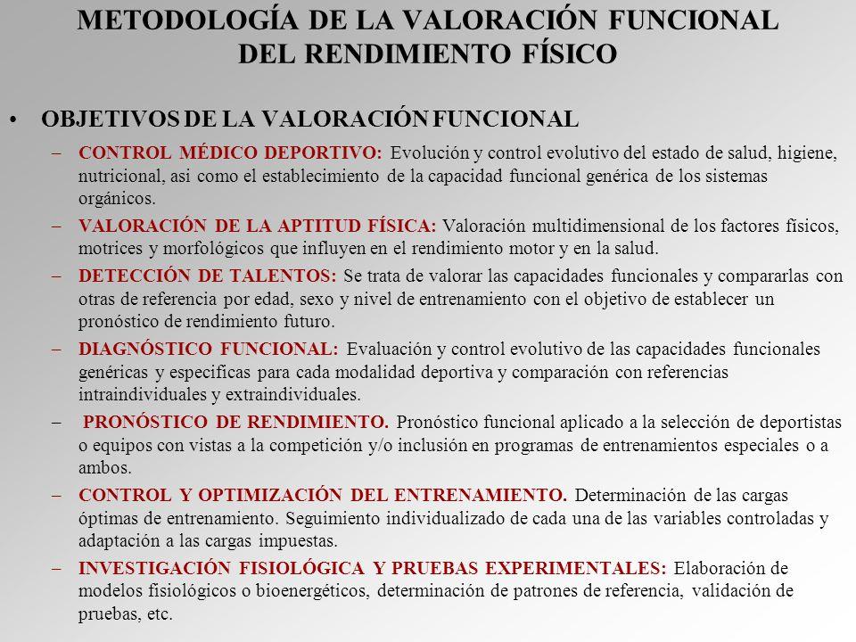 METODOLOGÍA DE LA VALORACIÓN FUNCIONAL DEL RENDIMIENTO FÍSICO