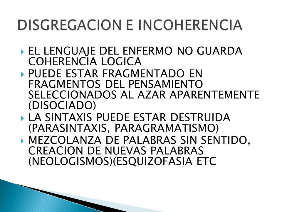 DISGREGACION E INCOHERENCIA