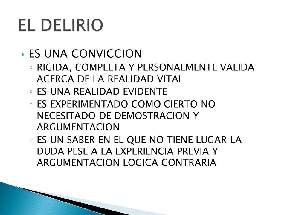 EL DELIRIO ES UNA CONVICCION