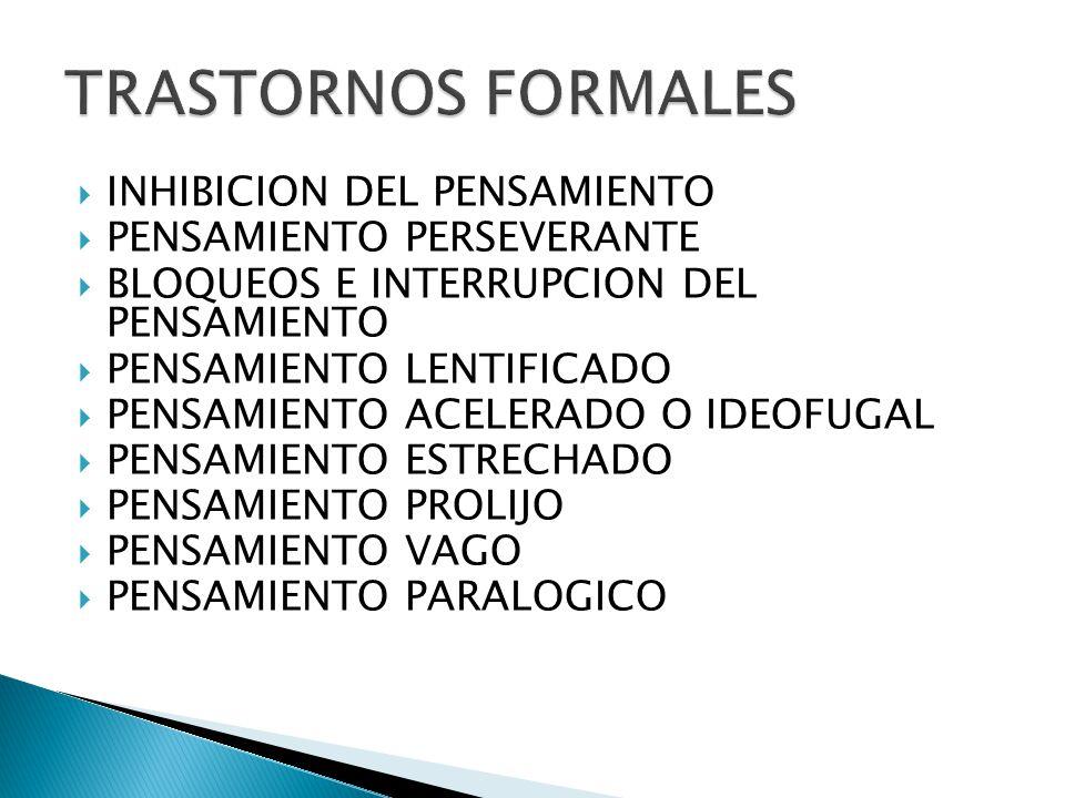 TRASTORNOS FORMALES INHIBICION DEL PENSAMIENTO