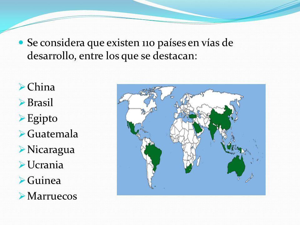 Se considera que existen 110 países en vías de desarrollo, entre los que se destacan: