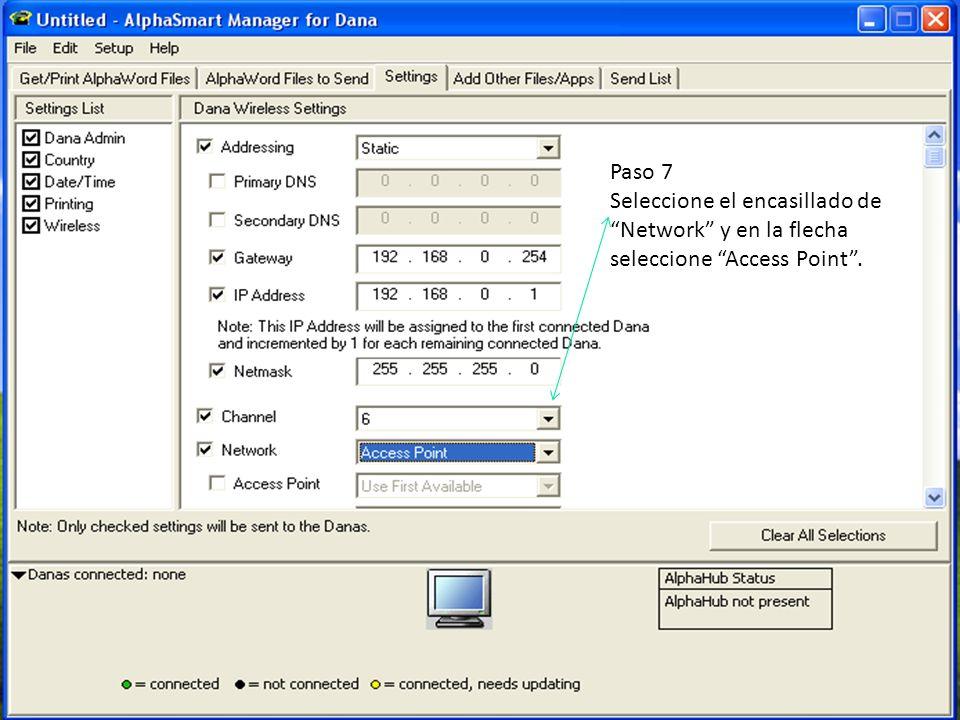 Paso 7 Seleccione el encasillado de Network y en la flecha seleccione Access Point .