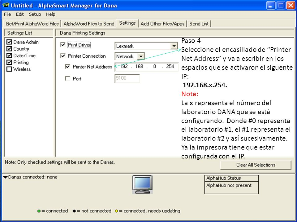 Paso 4Seleccione el encasillado de Printer Net Address y va a escribir en los espacios que se activaron el siguente IP: