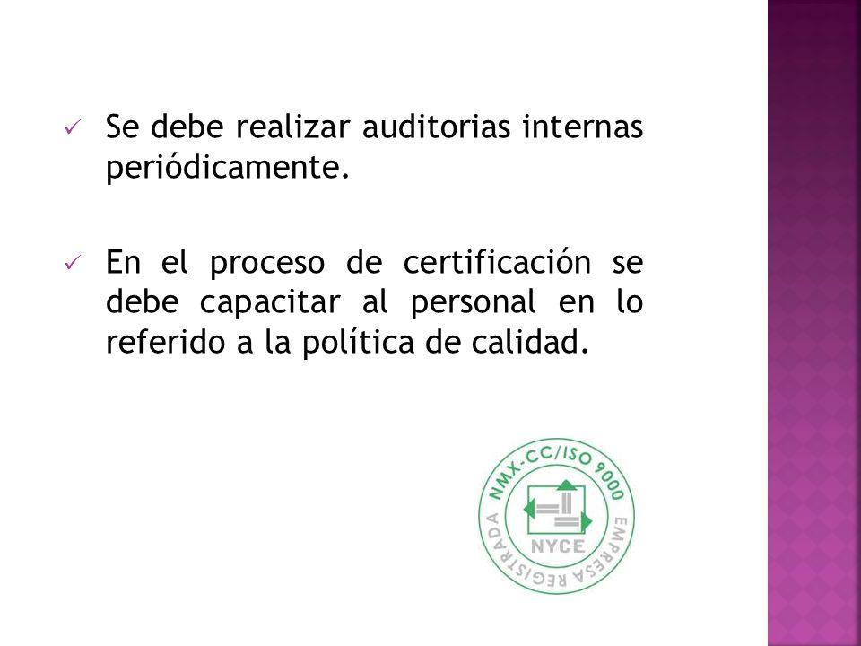 Se debe realizar auditorias internas periódicamente.