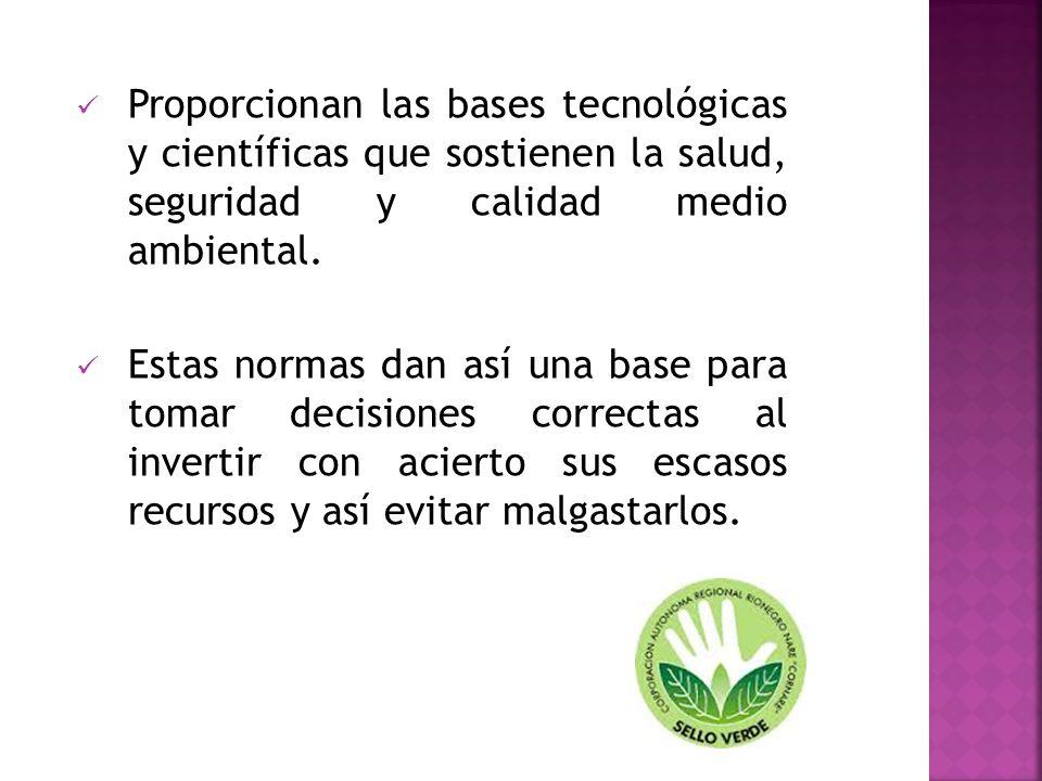 Proporcionan las bases tecnológicas y científicas que sostienen la salud, seguridad y calidad medio ambiental.