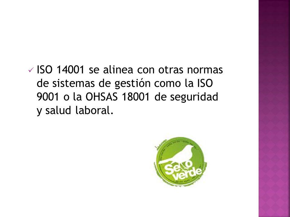 ISO 14001 se alinea con otras normas de sistemas de gestión como la ISO 9001 o la OHSAS 18001 de seguridad y salud laboral.