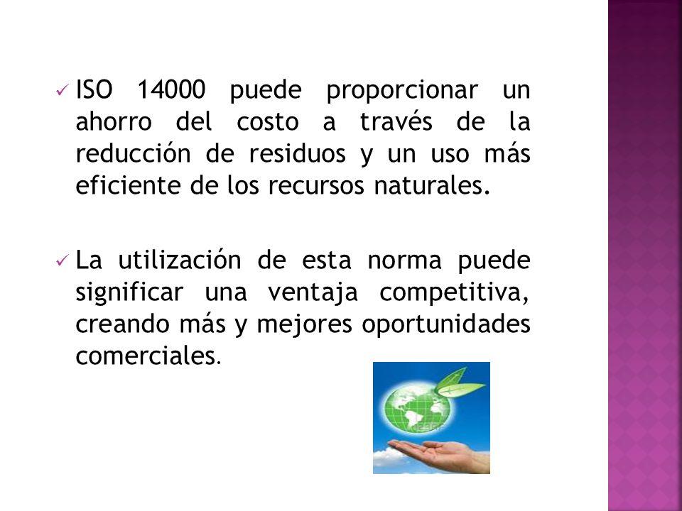 ISO 14000 puede proporcionar un ahorro del costo a través de la reducción de residuos y un uso más eficiente de los recursos naturales.