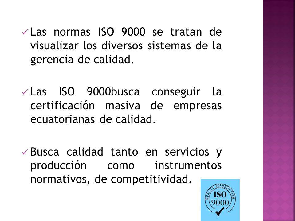 Las normas ISO 9000 se tratan de visualizar los diversos sistemas de la gerencia de calidad.