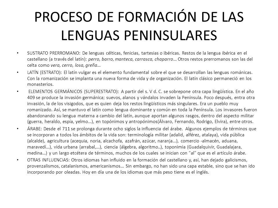 PROCESO DE FORMACIÓN DE LAS LENGUAS PENINSULARES