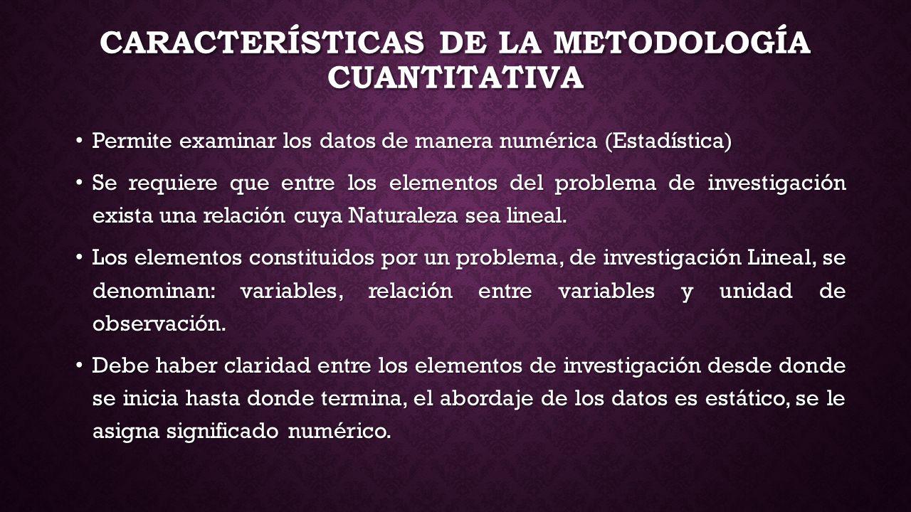 CARACTERÍSTICAS DE LA METODOLOGÍA CUANTITATIVA