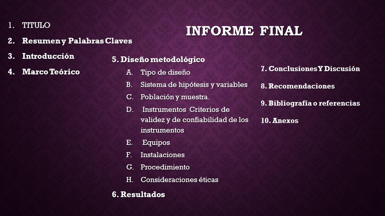 Informe final TITULO Resumen y Palabras Claves Introducción