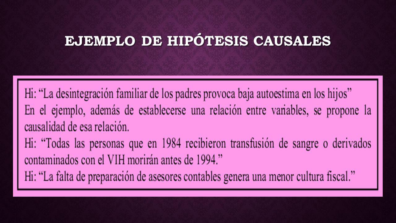 EJEMPLO DE HIPÓTESIS CAUSALES