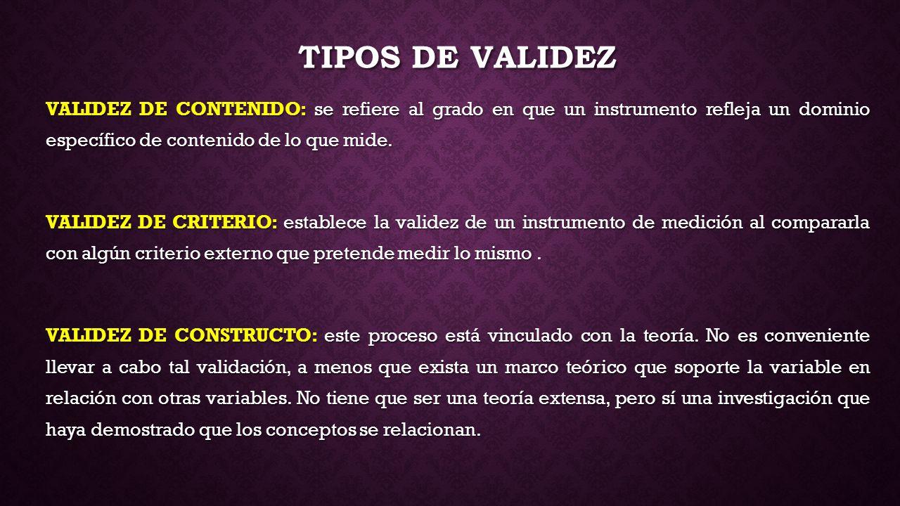 Tipos de validez