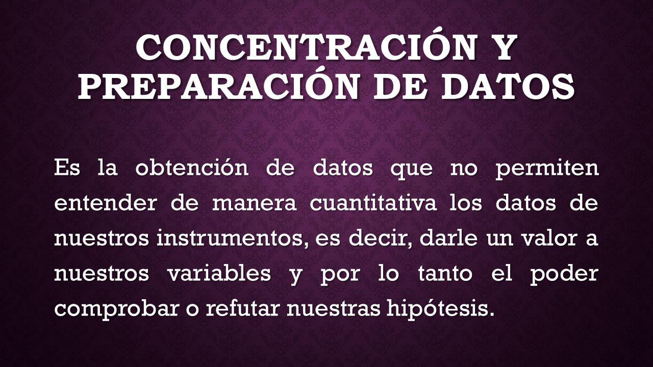 CONCENTRACIÓN Y PREPARACIÓN DE DATOS