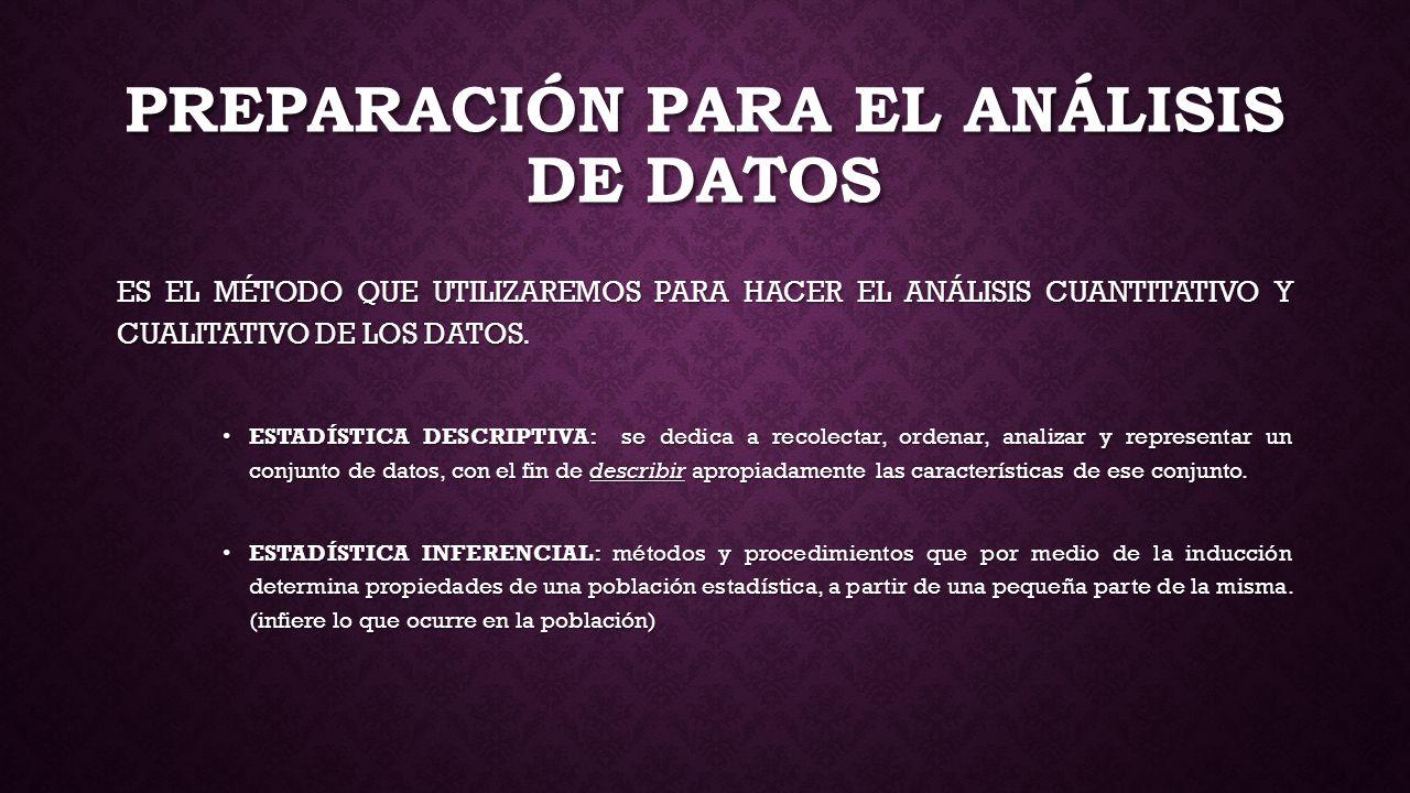 PREPARACIÓN PARA EL ANÁLISIS DE DATOS
