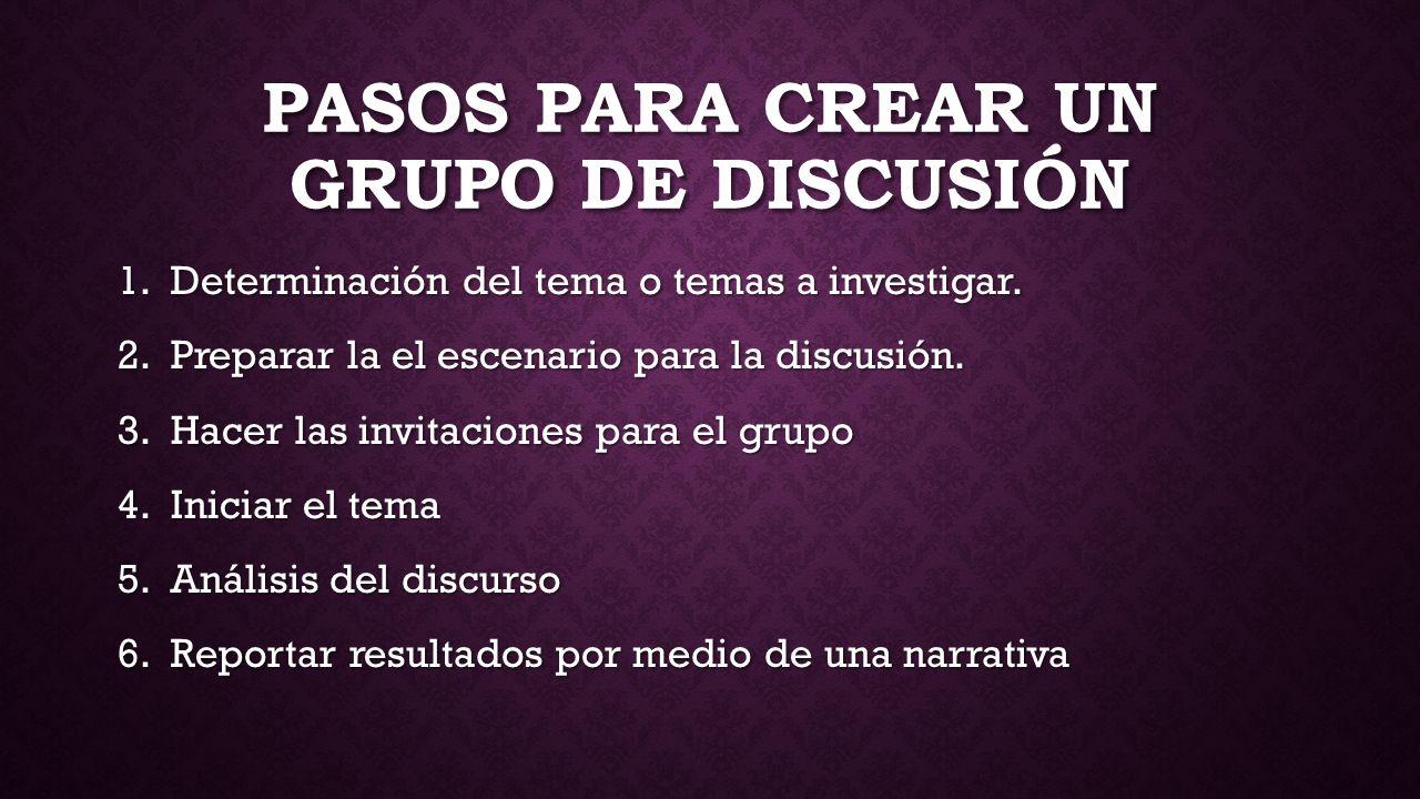Pasos para crear un grupo de discusión