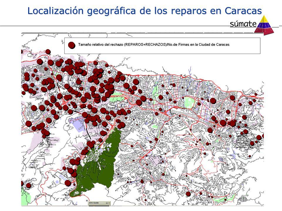 Localización geográfica de los reparos en Caracas
