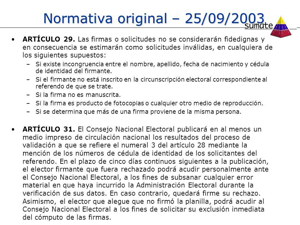 Normativa original – 25/09/2003