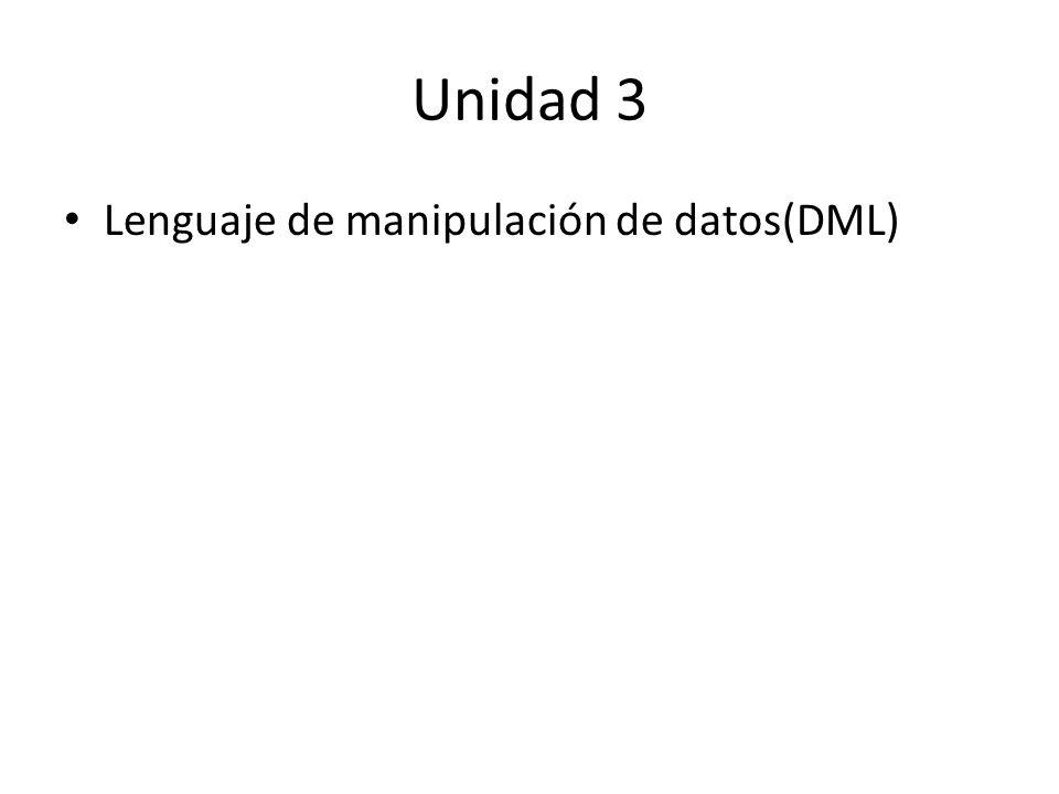 Unidad 3 Lenguaje de manipulación de datos(DML)