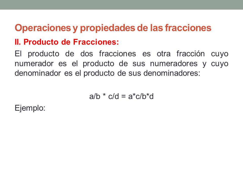 Operaciones y propiedades de las fracciones