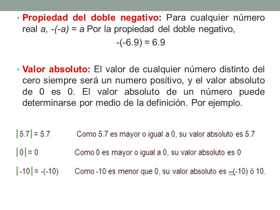 Propiedad del doble negativo: Para cualquier número real a, -(-a) = a Por la propiedad del doble negativo,