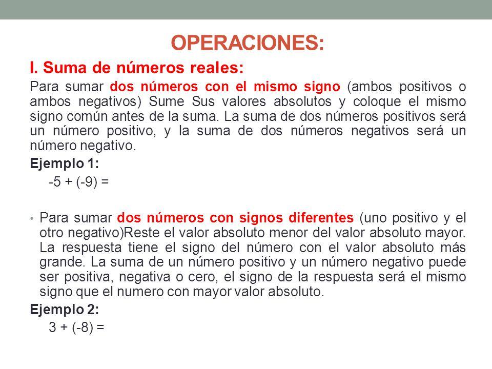 OPERACIONES: I. Suma de números reales: