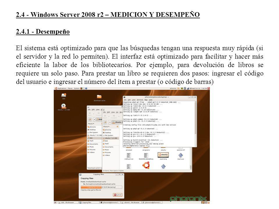 2.4 - Windows Server 2008 r2 – MEDICION Y DESEMPEÑO