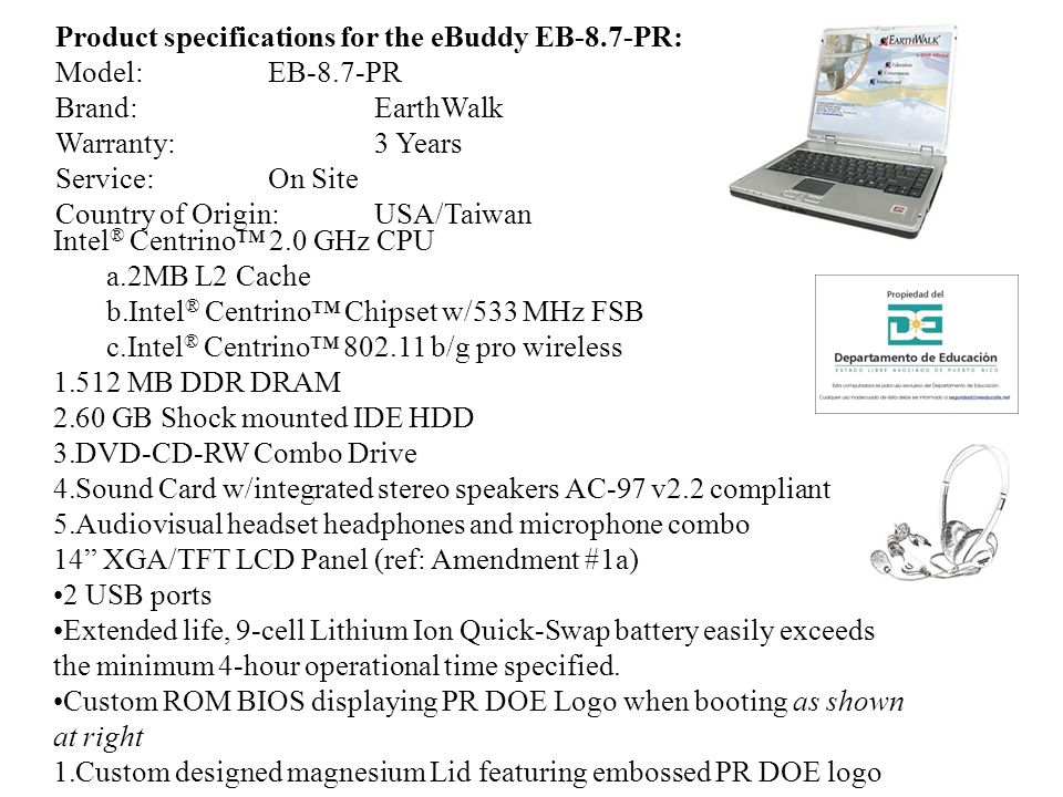 Product specifications for the eBuddy EB-8.7-PR: