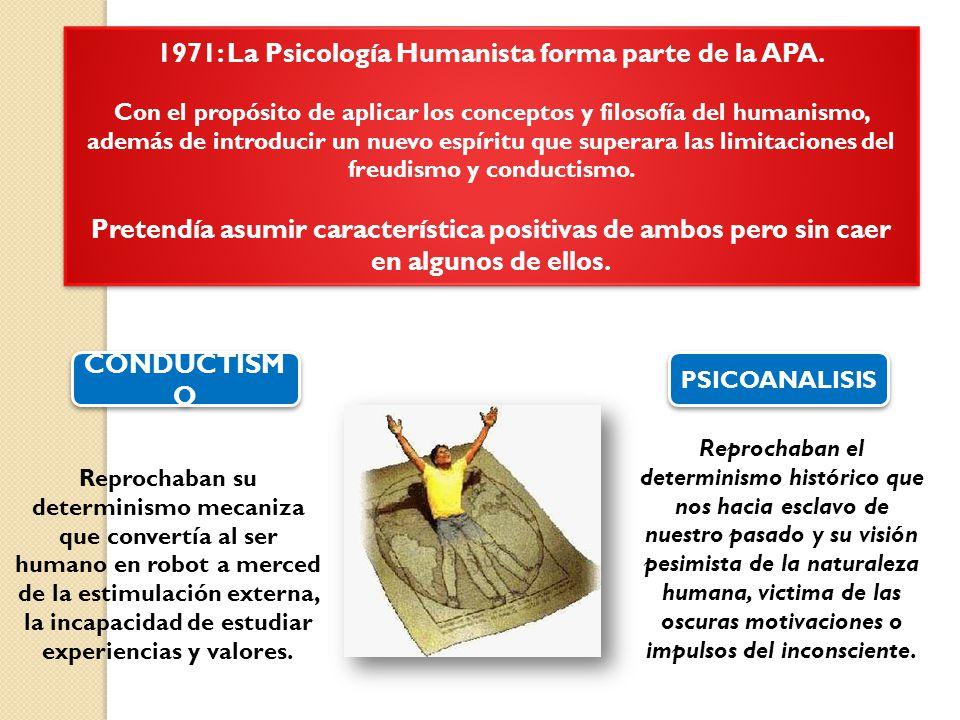 1971: La Psicología Humanista forma parte de la APA.