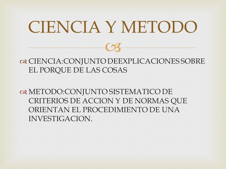 CIENCIA Y METODO CIENCIA:CONJUNTO DEEXPLICACIONES SOBRE EL PORQUE DE LAS COSAS.