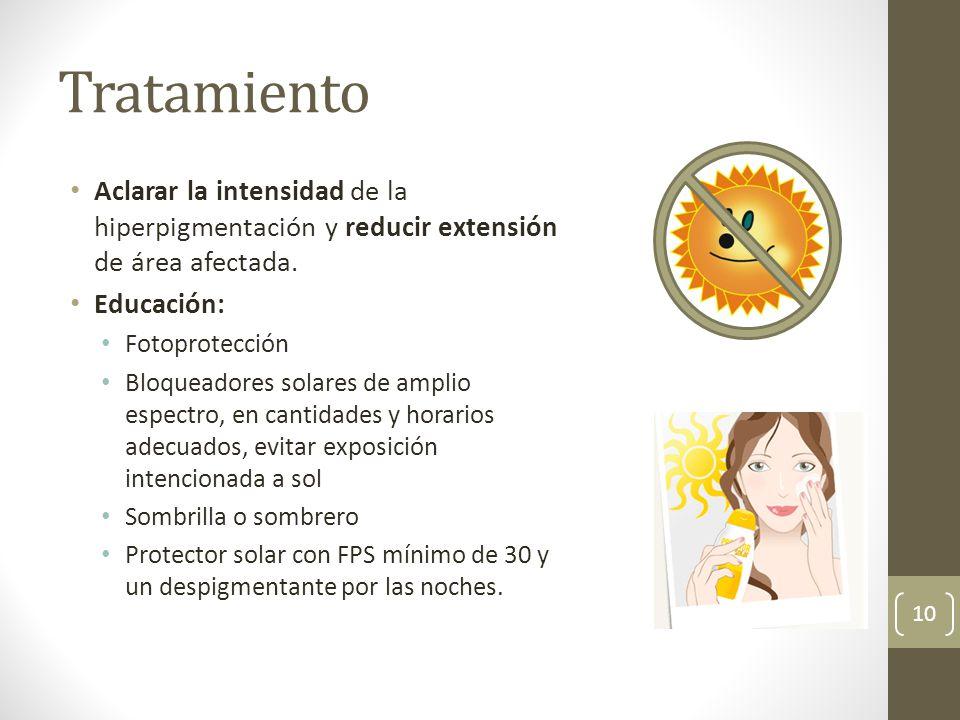 Tratamiento Aclarar la intensidad de la hiperpigmentación y reducir extensión de área afectada. Educación: