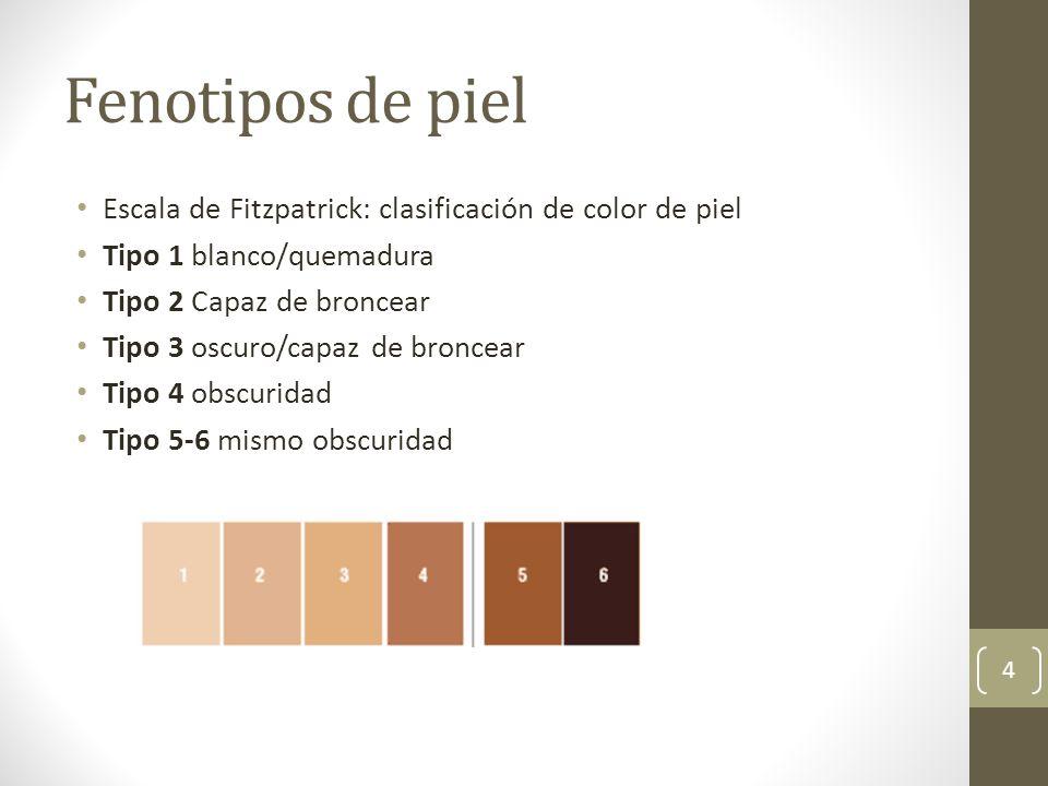 Fenotipos de piel Escala de Fitzpatrick: clasificación de color de piel. Tipo 1 blanco/quemadura. Tipo 2 Capaz de broncear.