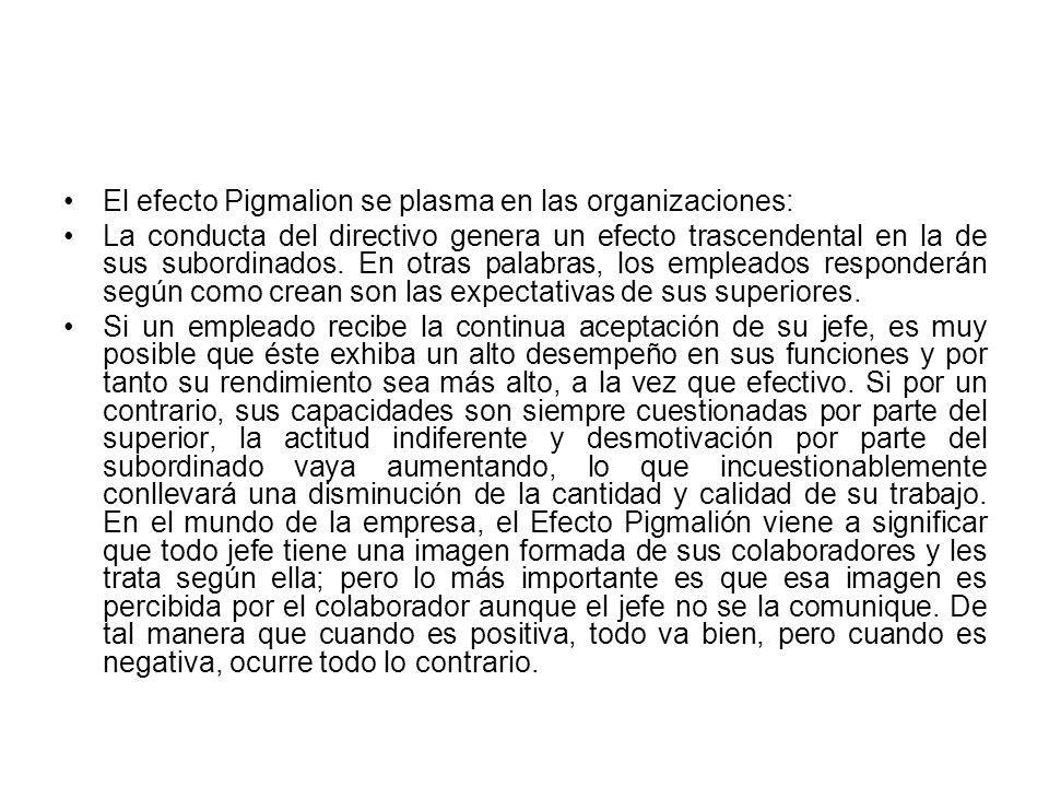 El efecto Pigmalion se plasma en las organizaciones: