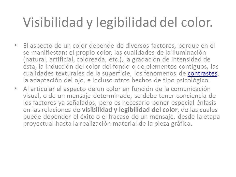 Visibilidad y legibilidad del color.