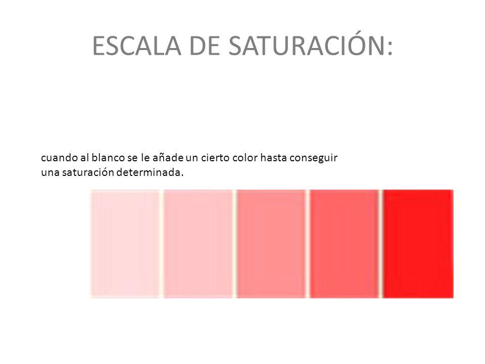 ESCALA DE SATURACIÓN: cuando al blanco se le añade un cierto color hasta conseguir una saturación determinada.