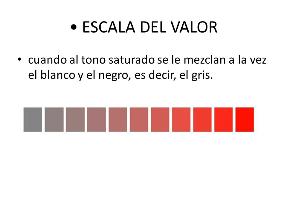 • ESCALA DEL VALOR cuando al tono saturado se le mezclan a la vez el blanco y el negro, es decir, el gris.