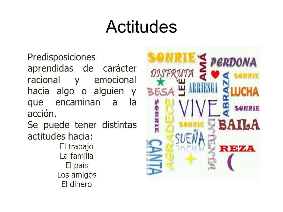 Actitudes Predisposiciones aprendidas de carácter racional y emocional hacia algo o alguien y que encaminan a la acción.