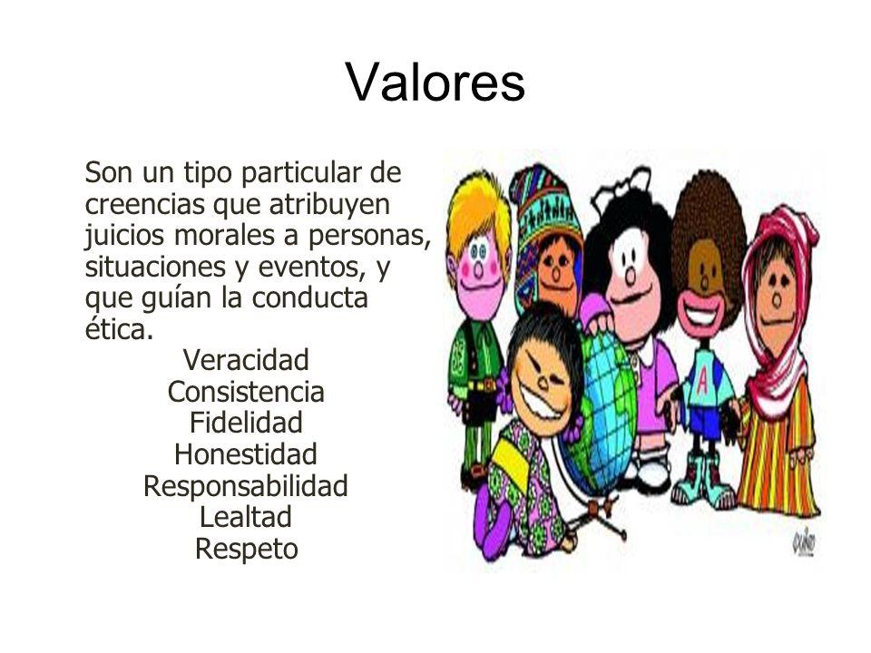 Valores Son un tipo particular de creencias que atribuyen juicios morales a personas, situaciones y eventos, y que guían la conducta ética.