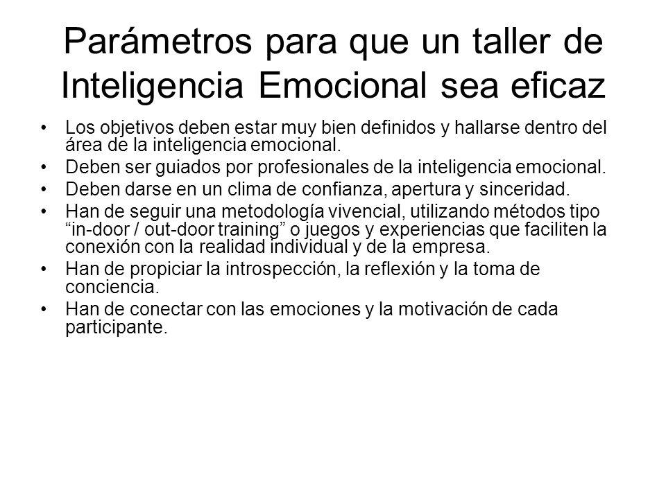 Parámetros para que un taller de Inteligencia Emocional sea eficaz