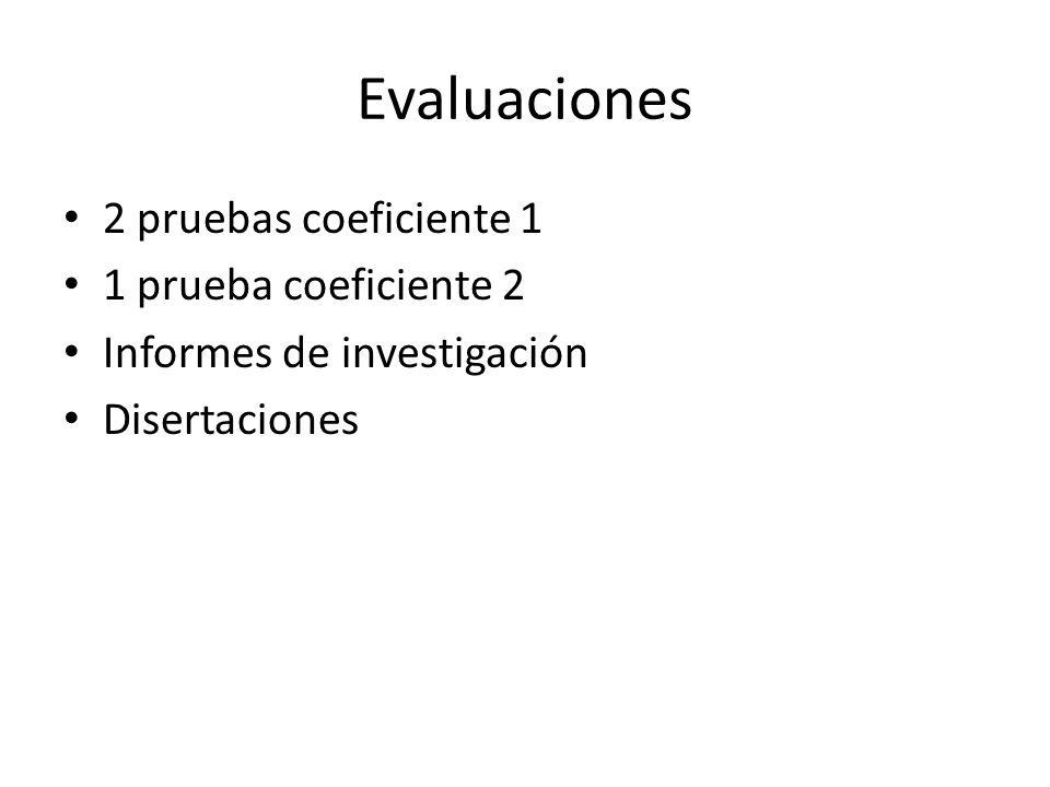 Evaluaciones 2 pruebas coeficiente 1 1 prueba coeficiente 2