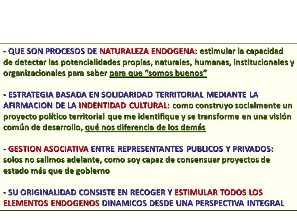 - QUE SON PROCESOS DE NATURALEZA ENDOGENA: estimular la capacidad de detectar las potencialidades propias, naturales, humanas, institucionales y organizacionales para saber para que somos buenos