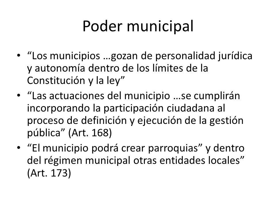 Poder municipal Los municipios …gozan de personalidad jurídica y autonomía dentro de los límites de la Constitución y la ley