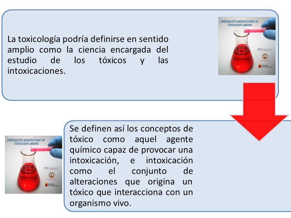 La toxicología podría definirse en sentido amplio como la ciencia encargada del estudio de los tóxicos y las intoxicaciones.