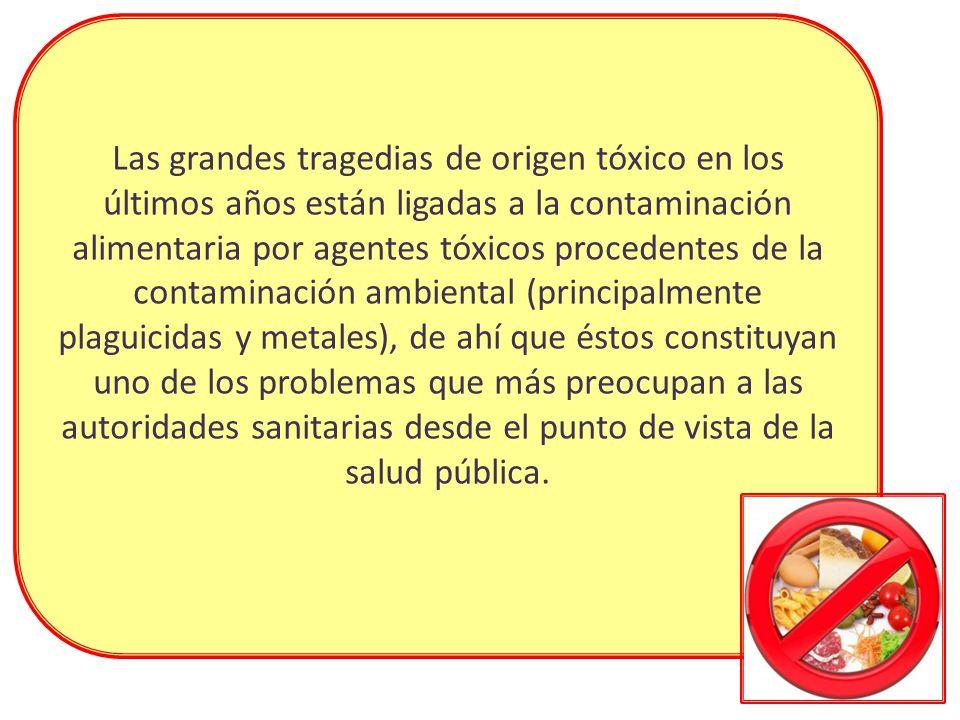 Las grandes tragedias de origen tóxico en los últimos años están ligadas a la contaminación alimentaria por agentes tóxicos procedentes de la contaminación ambiental (principalmente plaguicidas y metales), de ahí que éstos constituyan uno de los problemas que más preocupan a las autoridades sanitarias desde el punto de vista de la salud pública.