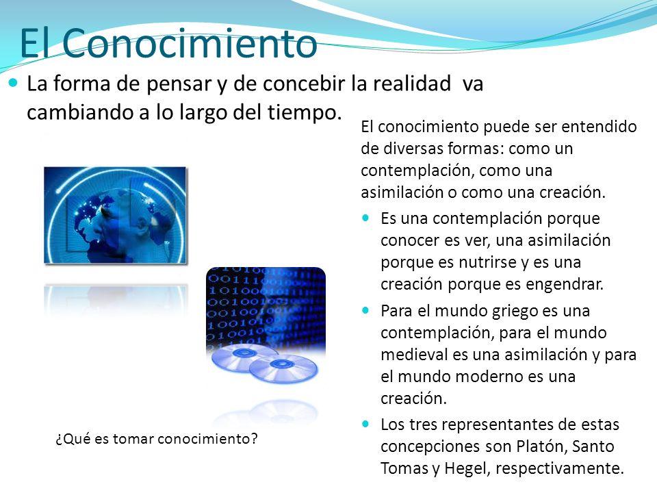 El Conocimiento La forma de pensar y de concebir la realidad va cambiando a lo largo del tiempo.