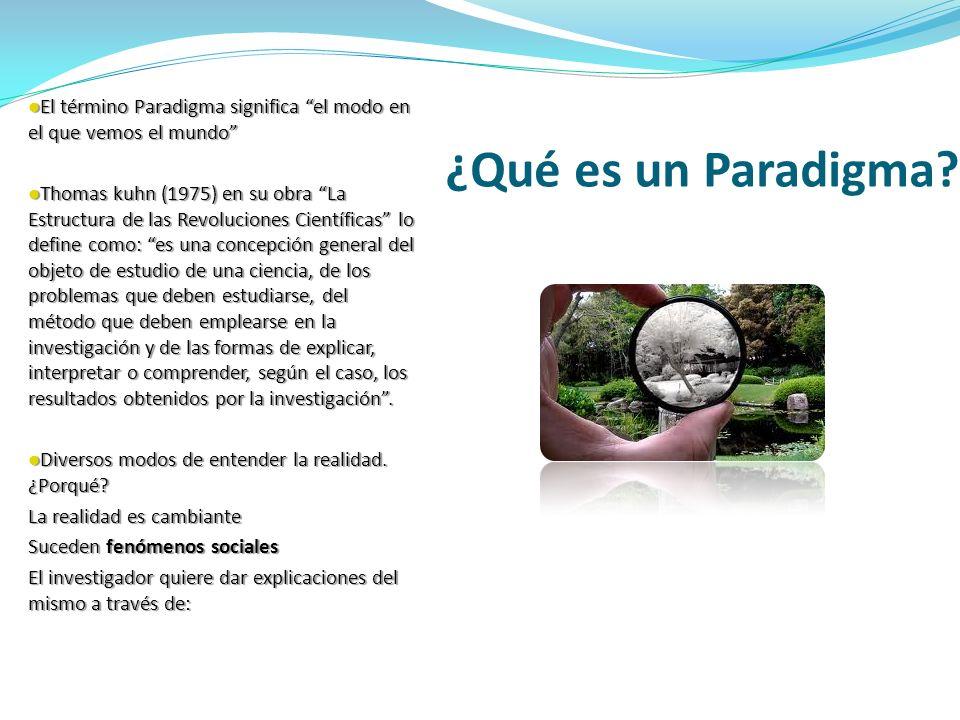 El término Paradigma significa el modo en el que vemos el mundo