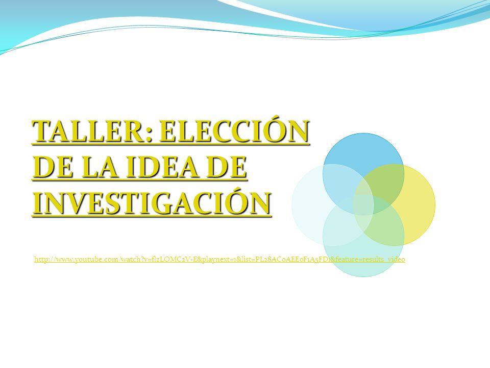 TALLER: ELECCIÓN DE LA IDEA DE INVESTIGACIÓN