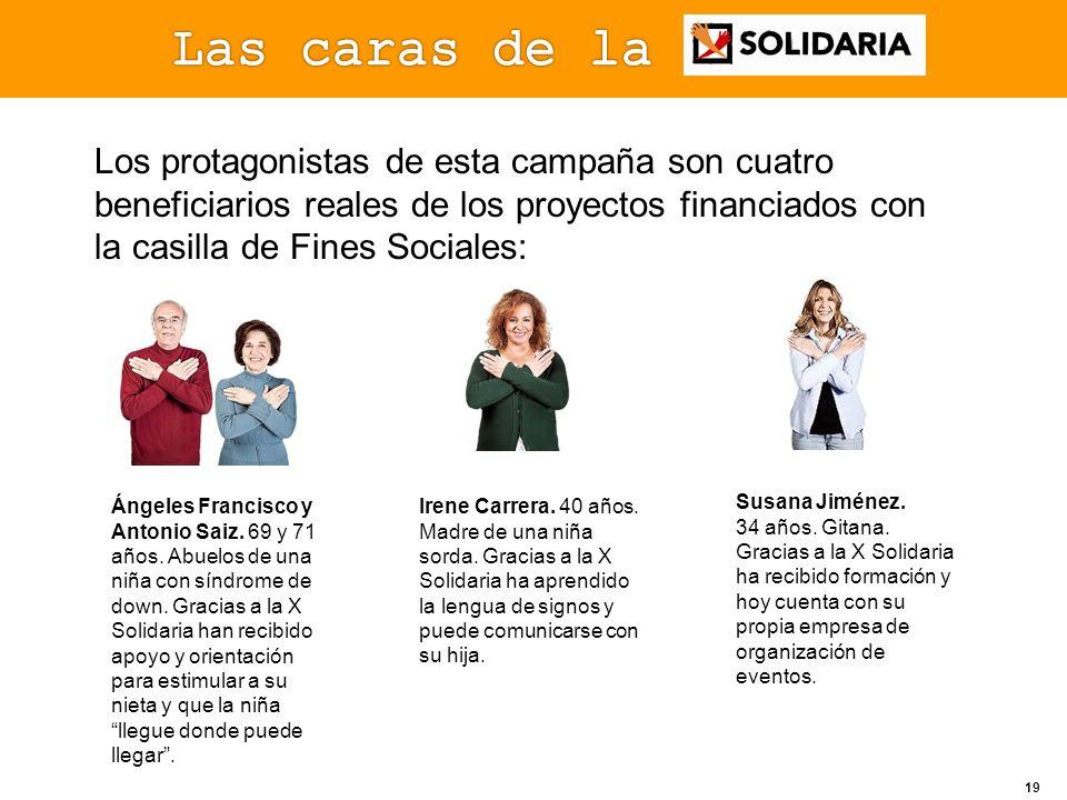 Las caras de laLos protagonistas de esta campaña son cuatro beneficiarios reales de los proyectos financiados con la casilla de Fines Sociales: