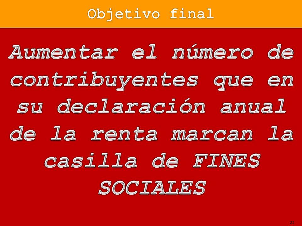 Objetivo finalAumentar el número de contribuyentes que en su declaración anual de la renta marcan la casilla de FINES SOCIALES.